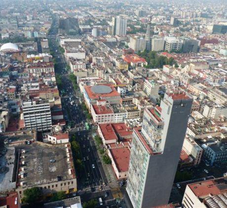 Blick von oben auf Mexiko City