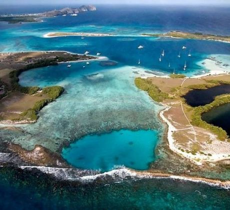 Los Roques Blick vom Flugzeug